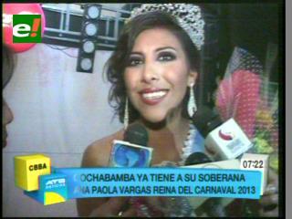 Ana Paola Vargas es la reina del carnaval cochabambino