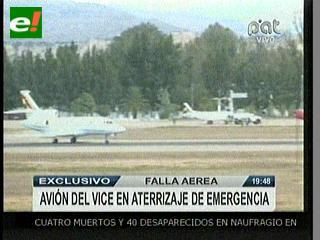 Vicepresidente sale ileso del aterrizaje de emergencia de una aeronave en Tarija