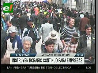 Ministerio de Trabajo instruye horario continuo en La Paz