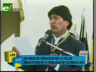 Presidente Morales destaca y reconoce esfuerzos de la FELCN en sus 26 años de creación