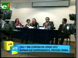 Organismos internacionales validan resultados del censo 2012
