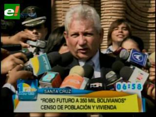 """Costas: """"El censo le ha robado a más de 120.000 cruceños"""""""