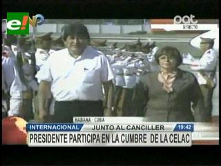Morales arribó a Cuba para participar de la Cumbre de la Celac