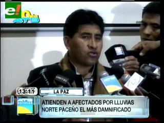 Gobernación reporta 2.145 familias damnificadas por las lluvias en La Paz