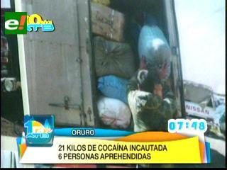 Decomisan 21 kilos de droga en Oruro