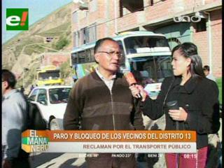 Vecinos del distrito 13 de La Paz bloquean y exigen que el Puma Katari cubra su zona