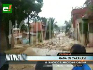 Se desborda río Caranavi e inunda principales calles y avenidas