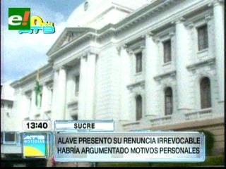 Magistrado Alave deja el cargo por 'motivos personales'