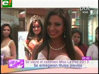 Entregan títulos previos de Miss La Paz 2013