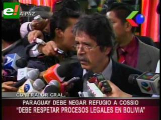 """Contralor: """"Se debe respetar a nivel internacional los procesos legales en Bolivia"""""""