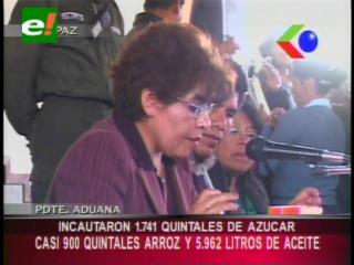 Presidenta de Aduana presentó los resultados de la lucha contra el contrabando de azúcar, arroz y aceite