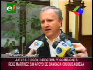 Bancada chuquisaqueña en el Senado le quita su apoyo a René Martínez