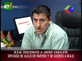 MSM desconoce al diputado Javier Zabaleta