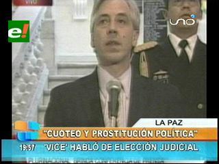 García Linera habló de la elección judicial: «Antes había cuoteo y prostitución política»