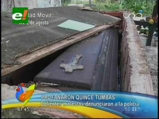 """Santa Cruz: Profanan quince tumbas en el cementerio """"El Progreso"""""""