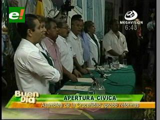 Apertura cívica, Asamblea de la Cruceñidad aprobó reformas