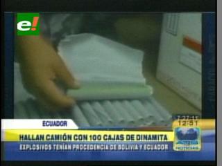 Policía de Ecuador decomisa cien cajas de dinamita que tenían como destino las FARC