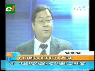 """Ministro de Economía: """"Derogación del decreto 21060 no traerá cambios económicos al país"""""""