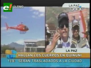 Encuentran los cuerpos de la avioneta siniestrada cerca de la localidad de Quinuni