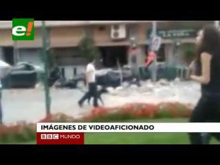Un videoaficionado graba los destrozos del terremoto