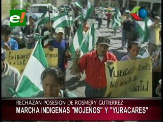 Mojeños marcharon en rechazo a la posesión de la Asambleísta Rosmery Gutiérrez