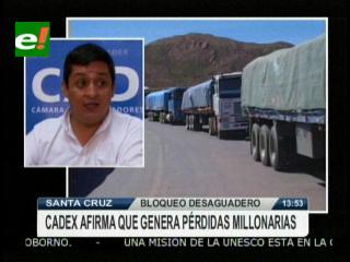 CADEX reporta pérdidas millonarias debido al bloqueo en el Desaguadero