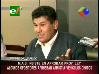 Senador Surco insiste en aprobar su ley: «Algunos opositores aprueban amnistía a vehículos»