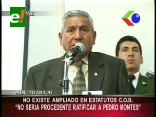"""Ministro de Trabajo: """"No sería procedente la ratificación de Pedro Montes como Secretario de la COB"""""""