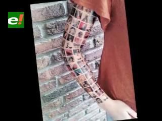Una mujer se tatuó la cara de sus 152 amigos de Facebook