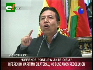 """Choquehuanca defiende su postura ante la OEA: """"No buscamos una resolución sobre el tema marítimo"""""""