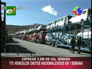 Aduana nacionalizó 773 vehículos «chutos» en la primera semana
