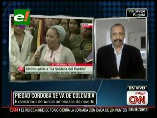 Ex senadora Piedad Córdoba sale de Colombia por amenazas de muerte