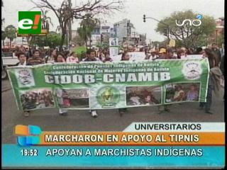 Santa Cruz: Universitarios marcharon en apoyo a los indígenas del Tipnis