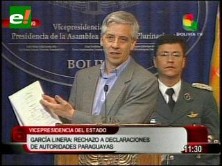 Alvaro García Linera rechaza declaraciones de autoridades paraguayas