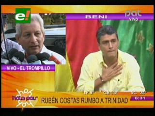 Rubén Costas rumbo a Trinidad, dará su apoyo a Ernesto Suárez