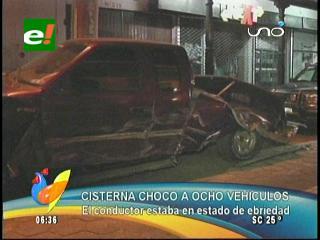 Cisterna chocó a ocho vehículos, el conductor estaba ebrio