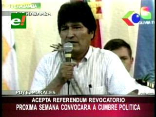 Evo Morales dispuesto a someterse a un referéndum revocatorio