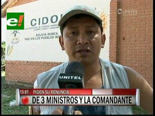 Cidob pide la renuncia de tres ministros y de la Comandante de la Policía por los hechos de Yapacaní