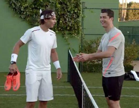 Nadal y Cristiano Ronaldo midieron fuerzas en un partido de fútbol-tenis
