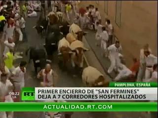 """Primer encierro de """"San Fermines"""" deja a 7 corredores hospitalizados"""