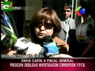 """Corrupción en YPFB: Ministra Suxo muestra preocupación por la """"debilidad"""" de la investigación"""