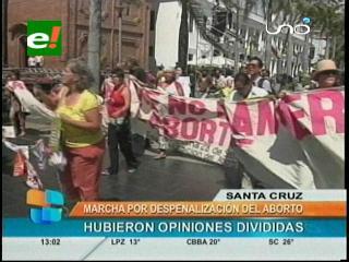 Movilización por la despenalización del aborto en Santa Cruz