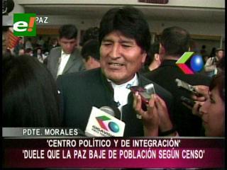 """Evo: """"Nos duele que La Paz haya bajado de población"""""""
