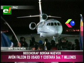 Gobierno invertirá $us 7 millones en compra de avión Falcon