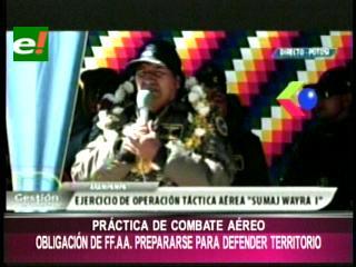 Evo dice que FFAA deben prepararse para defender Bolivia en caso de agresión