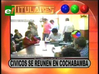 Titulares: Cívicos se reúnen en Cochabamba, analizan los resultados del censo