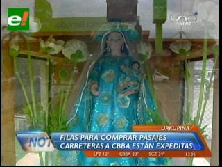 Terminal Bimodal: Fieles a la virgen de Urkupiña copan los buses a Cochabamba