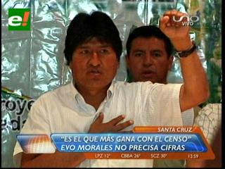 Sin precisar cifras Evo dice que Santa Cruz gana con el censo 2012