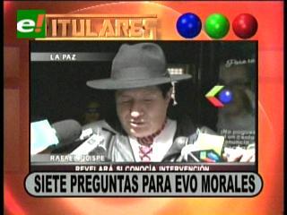Titulares: Rafael Quispe presentó ante la Fiscalía un cuestionario para Evo Morales por el caso Chaparina