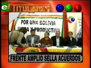 Titulares: Frente Amplio selló acuerdos con la micro y pequeña empresa de La Paz